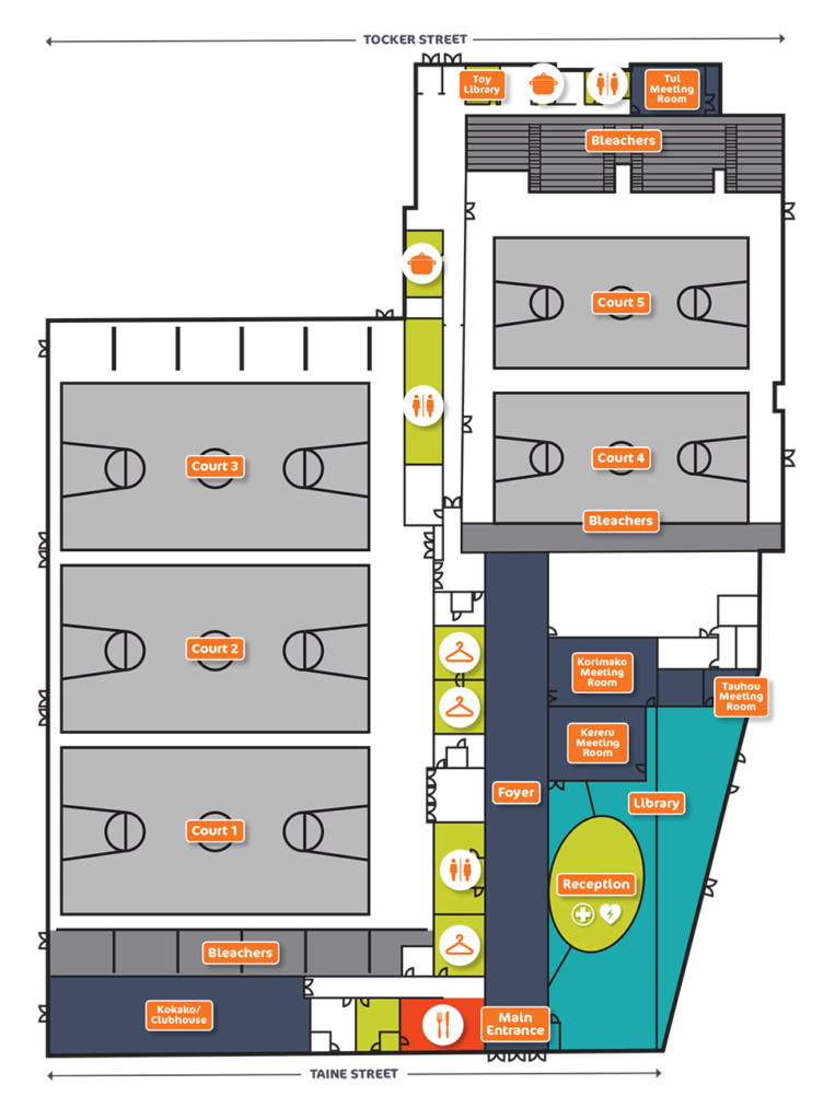 Floor plan showing the layout of the Walter Nash Centre